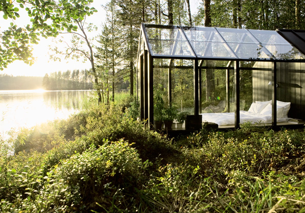 Glass Walled Lake Cabin, Finland photo via