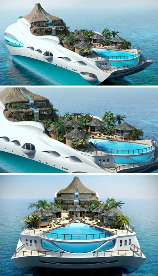 Yacht designed like an island paradise.