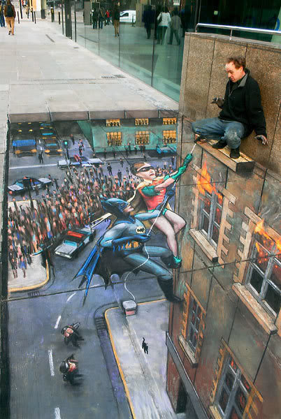 Batman and Robin, 3D Chalk Art, London, England