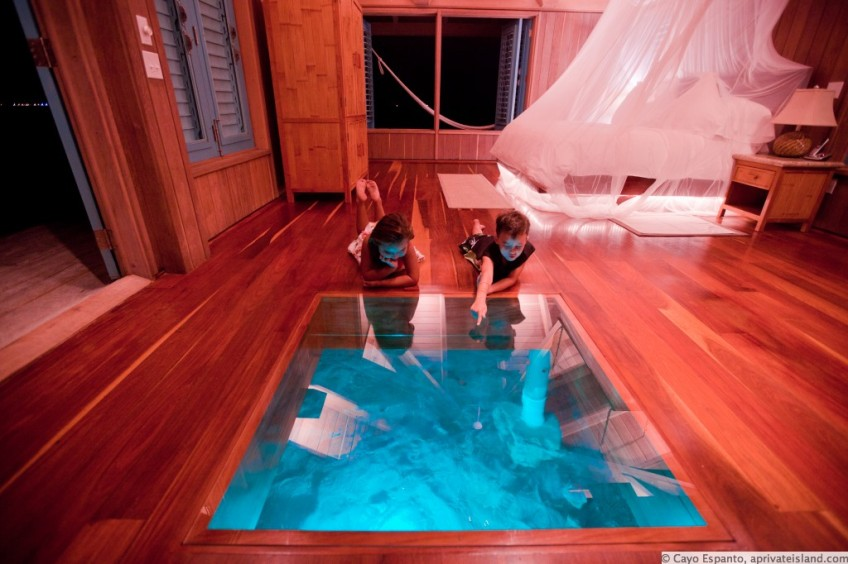 Over the Water Glass Floor,  Beach Cottage, The Caribbean photo via aprivateisland